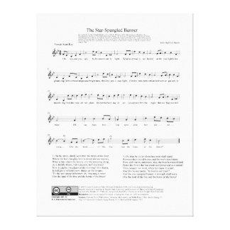 Stjärna-Spangled lakan för banernationalsångenmusi Canvastryck