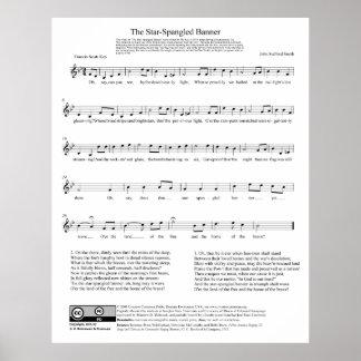 Stjärna-Spangled lakan för banernationalsångenmusi Poster