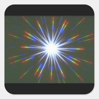 Stjärnabristning. (starburst; stars_Spaceplatser Fyrkantigt Klistermärke
