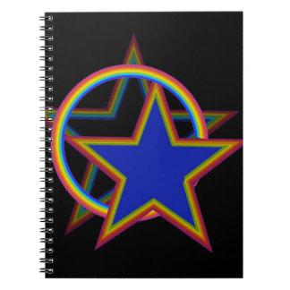 Stjärnan med skuggar anteckningsbok med spiral