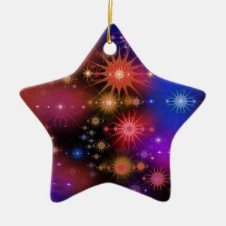 Stjärnan samla i en klunga julgransprydnad keramik