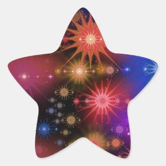 Stjärnan samla i en klunga stjärnformat klistermärke