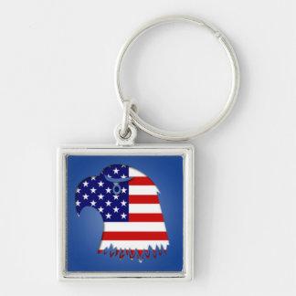 Stjärnan Spangled amerikanörnen Fyrkantig Silverfärgad Nyckelring