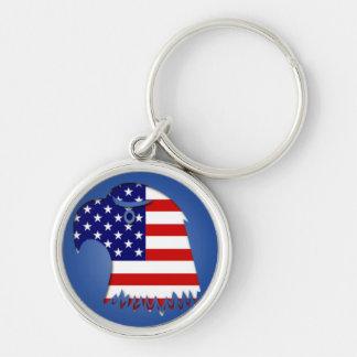 Stjärnan Spangled amerikanörnen Rund Silverfärgad Nyckelring