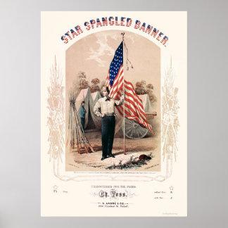 Stjärnan Spangled banerlithographen av P.S. Duval  Poster