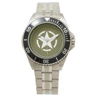 Stjärnan stencilerar vintage på kakigrönt armbandsur