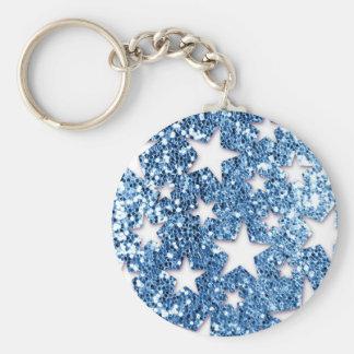 Stjärnor för blåttglitterLook Rund Nyckelring