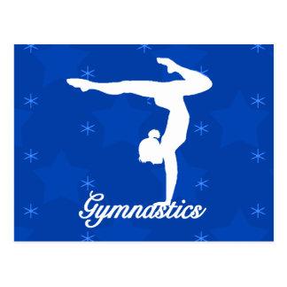 Stjärnor för gymnastikflickablått vykort