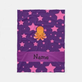 Stjärnor för känd orange bläckfisk för personlig fleecefilt