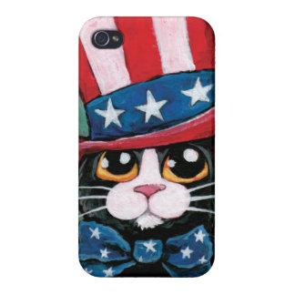 Stjärnor & för smokingkatt för randar patriotisk iPhone 4 hud