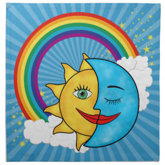Stjärnor för solmåneregnbåge tygservett