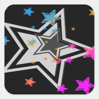 Stjärnor för vintage för Corey tiger80-tal Fyrkantigt Klistermärke