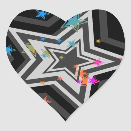 Stjärnor för vintage för Corey tiger80-tal Hjärtformade Klistermärken