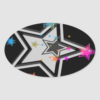 Stjärnor för vintage för Corey tiger80-tal Ovalt Klistermärke