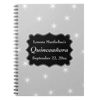 Stjärnor mönstrar i grått och vit Quinceanera Anteckningsbok Med Spiral