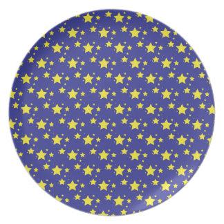 Stjärnor på blåttbakgrund pläterar tallrik