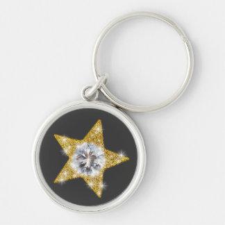 Stjärnor Rund Silverfärgad Nyckelring