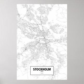 Stockholm sverige (svarten på vit) affisch