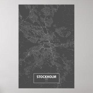 Stockholm sverige (vit på svart) posters
