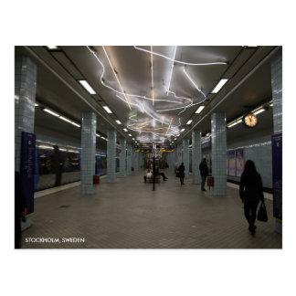 Stockholm tunnelbana II med stadstext Vykort
