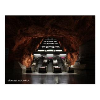 Stockholm tunnelbana mig, med stationtext vykort