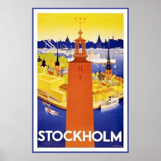 """""""Stockholm"""" vintage resoraffisch Poster"""