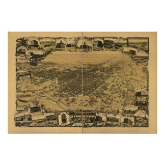 Stockton Kalifornien 1895 antika panorama- karta Poster