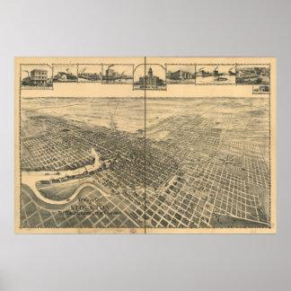Stockton Kalifornien 1895 panorama- karta Poster
