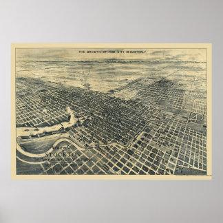Stockton panorama- karta för CA - 1895 Poster