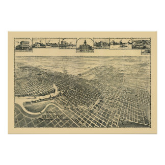 Stockton panorama- karta för CA - 1895b Poster