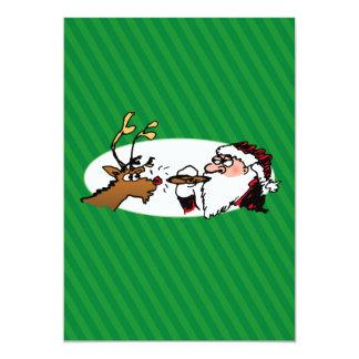 Stogie som röker Santa rolig grön randjul 12,7 X 17,8 Cm Inbjudningskort