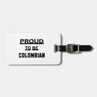 Stolt att vara Colombian. Bagage Lappar