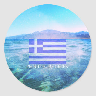 Stolt att vara grekiskt rund klistermärke