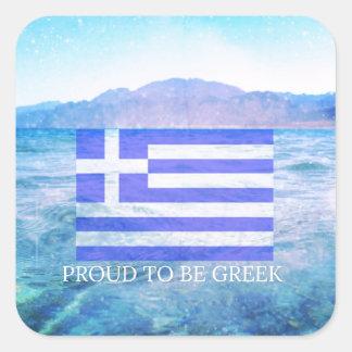 Stolt att vara grekiskt fyrkantiga klistermärken