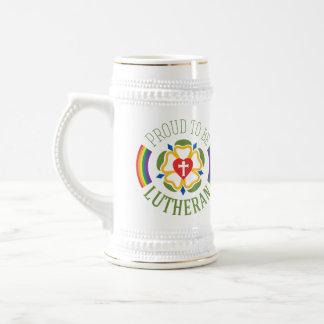 """""""Stolt att vara Lutheran"""" öl Stein Sejdel"""