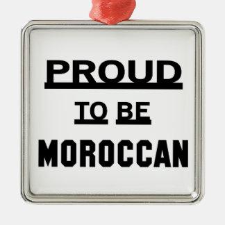 Stolt att vara marockanskt silverfärgad fyrkantigt julgransprydnad