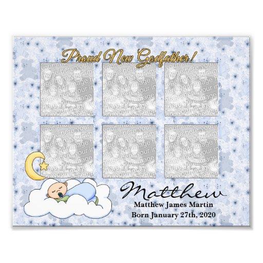 stolt för nyfödd bebispojke för gudfader 8x10 ram  fotografiskt tryck