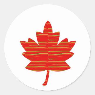 Stolt kanadensisk LÖNNLÖV: DRIFTIGT rött på silke Runt Klistermärke