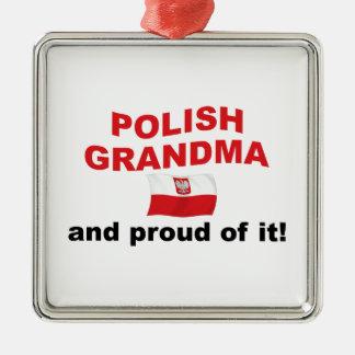 Stolt polsk mormor julgransprydnad metall