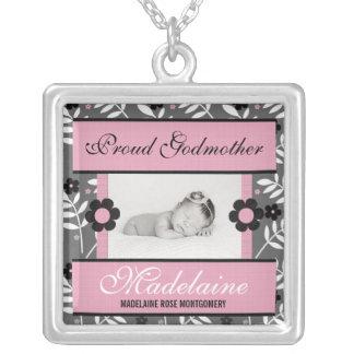 Stolt rosor för gudmorpersonligfoto silverpläterat halsband