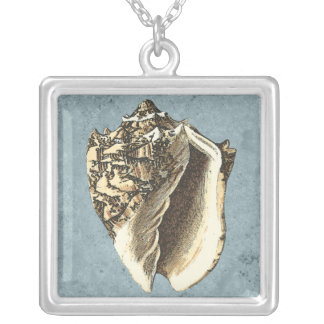 Stonewashed Conchsnäcka Silverpläterat Halsband