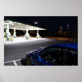 Stopp för Subaru Impreza P1 nattgrop på motoriskt  Poster