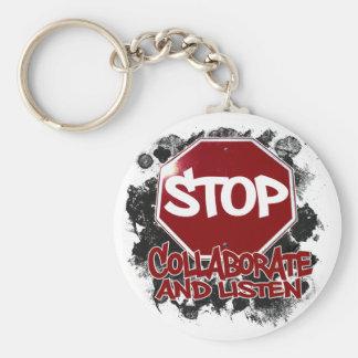 Stopp! Samarbeta och lyssna Rund Nyckelring