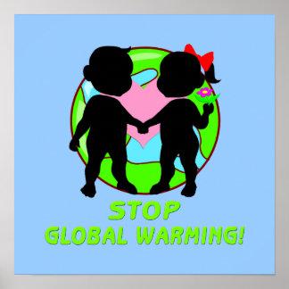 Stoppa affischen för global värme poster