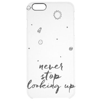 Stoppa aldrig det tittar upp utrymmefodral clear iPhone 6 plus skal
