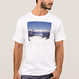Stoppa aldrig undersökning tee shirts