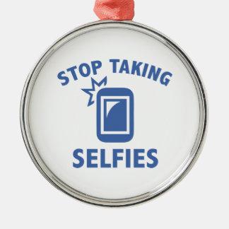 Stoppa att ta Selfies Rund Silverfärgad Julgransprydnad