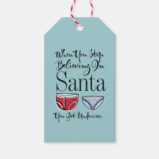 Stoppa att tro i märkre för Santa underklädergåva Presentetikett