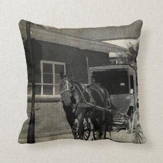 Stoppa för ett pass, Amish Buggyhäst i sepia Kudde