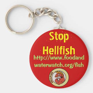 stoppa helvete-fisken keychain rund nyckelring